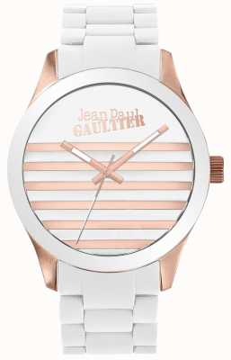 Jean Paul Gaultier Enfants terríveis unisex branco e rosa de ouro relógio de borracha JP8501126