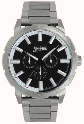 Jean Paul Gaultier Bomber mens pulseira de aço inoxidável relógio mostrador preto JP8505404