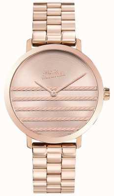 Jean Paul Gaultier Glam mulheres rosa relógio de metal tom de ouro JP8505608