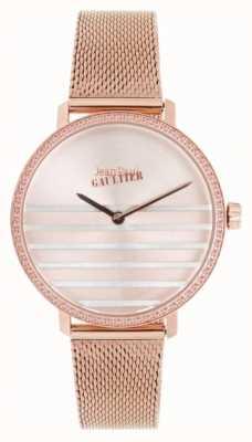 Jean Paul Gaultier Relógio glam azul marinho para mulher, pulseira de malha de tom dourado JP8505601