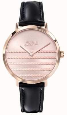 Jean Paul Gaultier Glam navy womens pulseira de couro preto relógio JP8505605