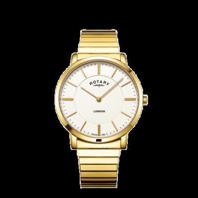 Rotary Relógio de pulseira de aço inoxidável Mens london ouro em expansão GB02766/03