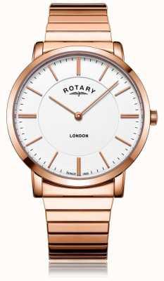 Rotary Mens london rose aço ouro pulseira de expansão assistir GB02767/02