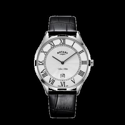 Rotary Mens ultra slim pulseira de couro preto relógio de caixa de aço GS08400/29