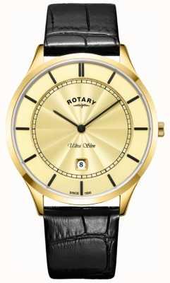 Rotary Mens cinta de couro preta ultra slim ouro GS08413/03