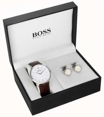 Boss Mens marrom couro branco mostrador de abotoaduras conjunto de presente 1570069