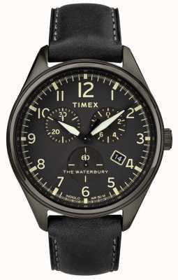Timex Mens waterbury tradicional preto couro crono preto TW2R88400