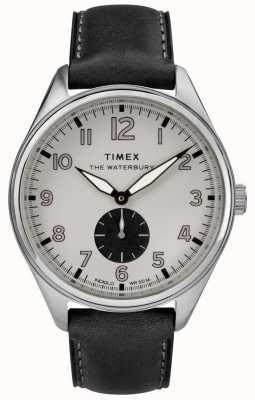 Timex Mens waterbury tradicional cinza preto couro subdial TW2R88900