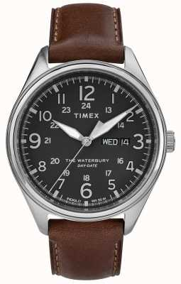 Timex Mens waterbury dia tradicional data preto marrom TW2R89000