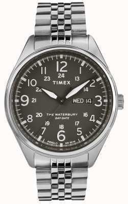 Timex Mens waterbury dia tradicional data de aço preto TW2R89300