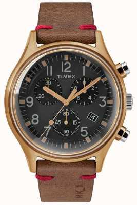 Timex Mens mk1 sst chrono 42 milímetros caso de bronze mostrador preto pulseira marrom TW2R96300