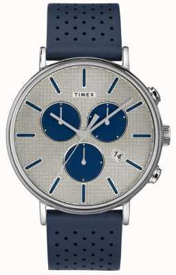Timex Mens fairfield chrono supernova pulseira azul mostrador prateado TW2R97700