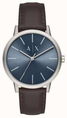 Armani Exchange Relógio de homem pulseira de couro marrom mostrador azul AX2704
