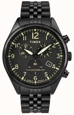Timex Relógio preto cronógrafo tradicional de Waterbury TW2R88600D7PF