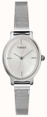 Timex Relógio de malha de prata oval de senhora milano TW2R94200D7PF