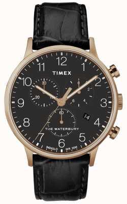 Timex Mens waterbury clássico subiu relógio de ouro pulseira preta TW2R72000D7PF