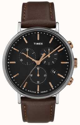 Timex Fairfield cronógrafo marrom pulseira preta TW2T11500D7PF