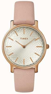 Timex Cinta de couro metropolitana das mulheres assistir prata rosa de ouro TW2R85200D7PF