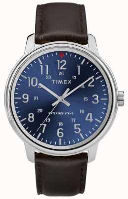 Timex Relógio de couro marrom metropolitano masculino azul TW2R85400
