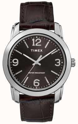 Timex Couro marrom pulseira de crocodilo marrom mostrador preto TW2R86700