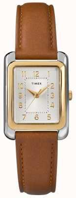 Timex Mostrador de tom de prata pulseira de couro marrom das mulheres TW2R89600D7PF