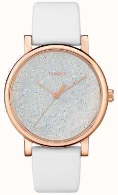 Timex Relógio de couro branco para mulher com cristais swarovski TW2R95000D7PF