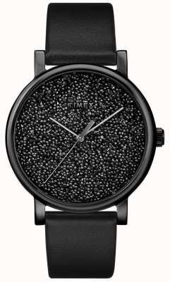 Timex Relógio de couro preto feminino com cristais swarovski TW2R95100D7PF