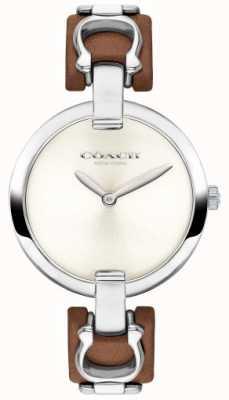 Coach Chrystie marrom couro e pulseira de aço 14503090