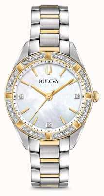 Bulova Womens two tone diamond set assista 98R263