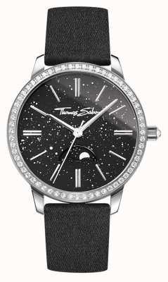Thomas Sabo Womens glam e alma moonphase assistir pulseira de couro preto WA0327-209-203-33