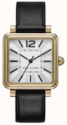 Marc Jacobs Relógio vic de mulheres, mostrador quadrado de couro preto MJ1437