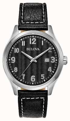Bulova Mens watch pulseira de couro preto mostrador preto 96B299