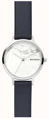 Skagen Relógio de pulseira de couro de discagem de mármore branco para mulher SKW2719