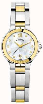 Michel Herbelin Senhoras newport royale mãe de dois tons de diamante pérola discar 14298/BT89