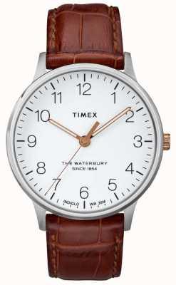 Timex Mens o mostrador branco clássico waterbury com mãos de ouro rosa TW2R95900