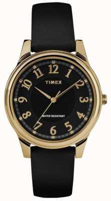Timex Relógio de mostrador preto de couro preto clássico das mulheres TW2R87100