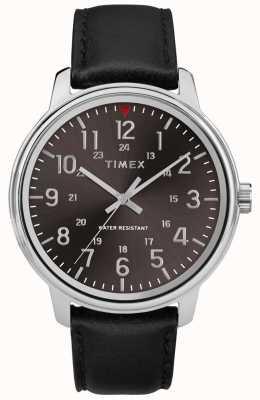 Timex Mens couro preto clássico preto escovado TW2R85500