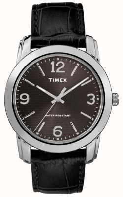 Timex Mens clássico couro preto pulseira de couro preto TW2R86600