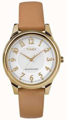 Timex Mostrador prateado de cinta de couro tan clássico feminino com tom dourado TW2R87000