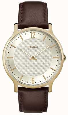 Timex Relógio metropolitano Mens 40mm marrom couro tom de ouro TW2R92000