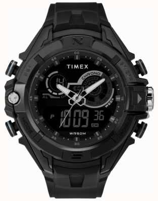 Timex Mens preto de 47 mm preto anel preto cinta TW5M23300