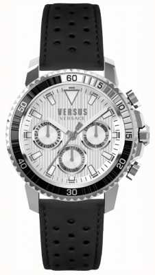 Versus Versace Mens aberdeen pulseira de couro preto mostrador prateado S30010017