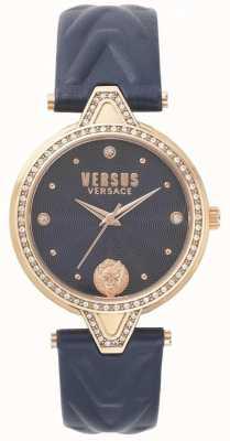 Versus Versace Womens v contra stone set azul mostrador pulseira de couro azul SPCI340017