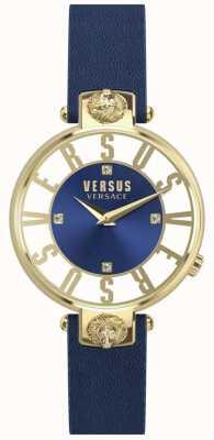 Versus Versace Correia de couro azul para mulher kristenhof blue dial SP49020018