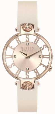 Versus Versace Kristenhof das mulheres subiu de discagem de ouro pulseira de couro rosa SP49030018