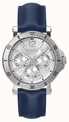 Versus Versace Mens steenberg prata mostrador pulseira de couro azul SP52010018