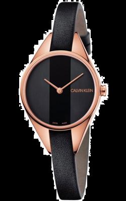 Calvin Klein Womens rebel watch pulseira de couro preto com tom de rosa de ouro K8P236C1