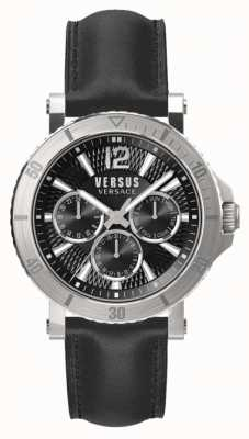 Versus Versace Mens steenberg black dial pulseira de couro preto SP52020018