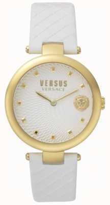 Versus Versace Womens buffle bay branco mostrador branco pulseira de couro SP87020018