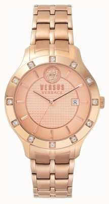 Versus Versace Womens brackenfell subiu discagem de ouro rosa pulseira de ouro pvd SP46040018